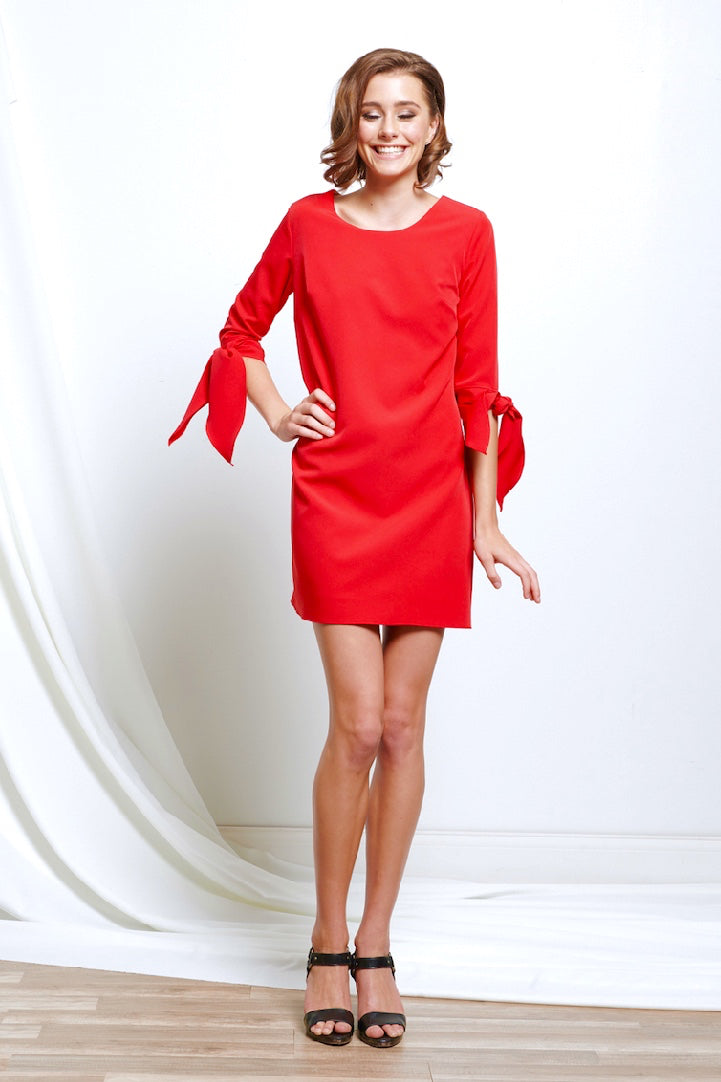 Red Mini Dress with Tied Accent Sleeves