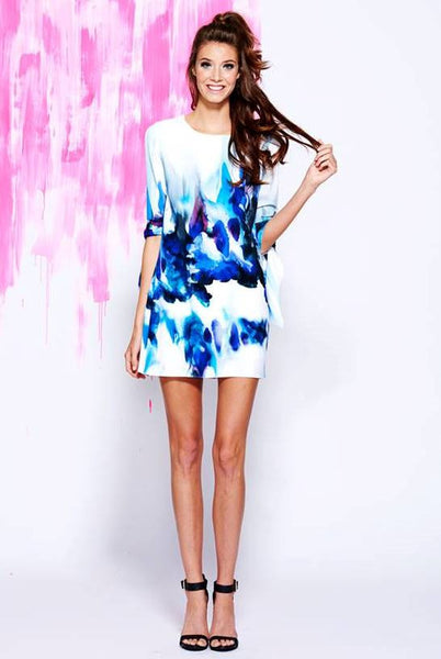Painted Tunic Dress w/Tie Sleeves