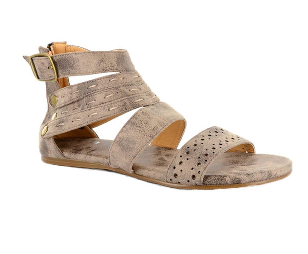 Distressed Gold Zip Up Sandal