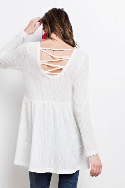 Thermal Top with Lace-Up Back in Off White