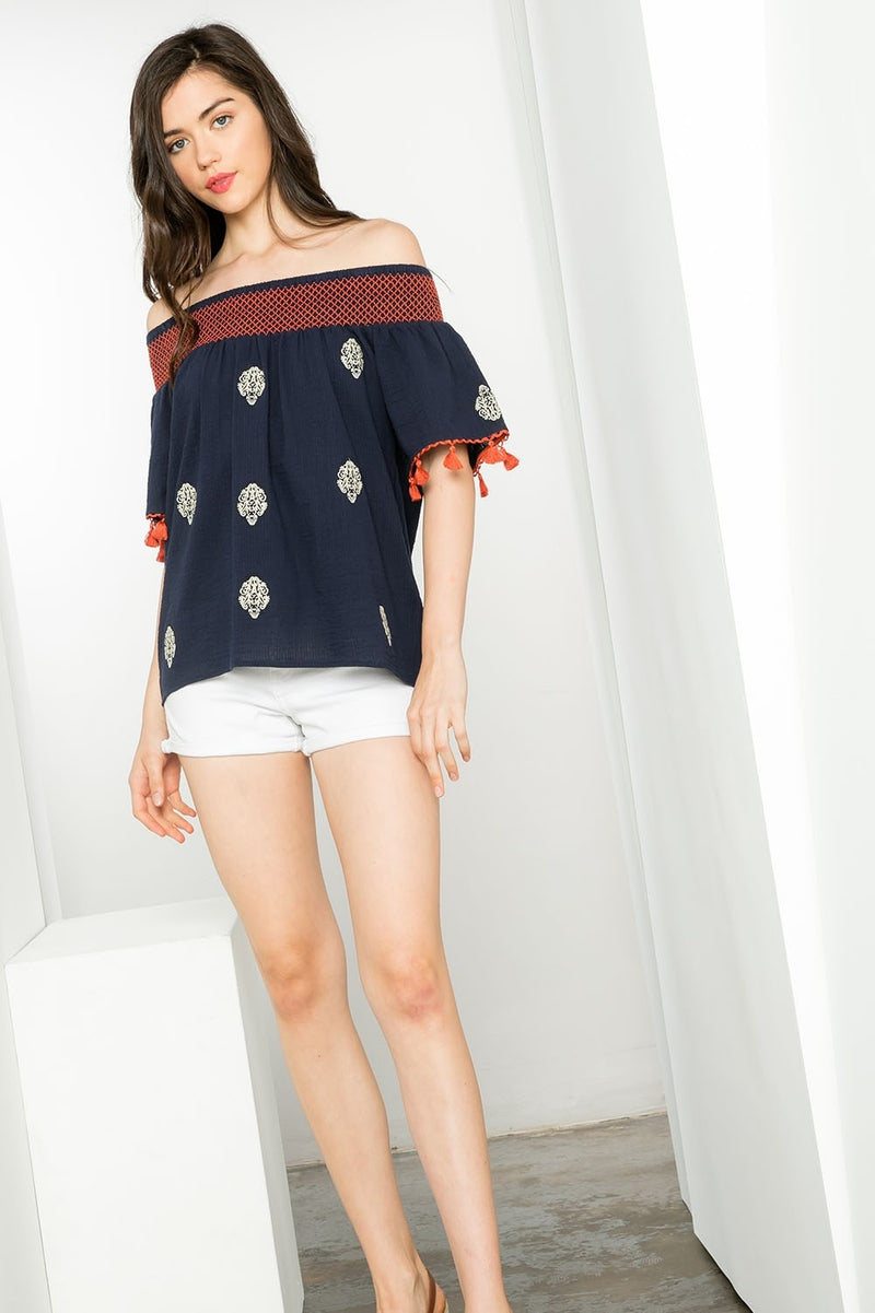 LAST CALL SIZE L | Navy Off The Shoulder Embroidered Top