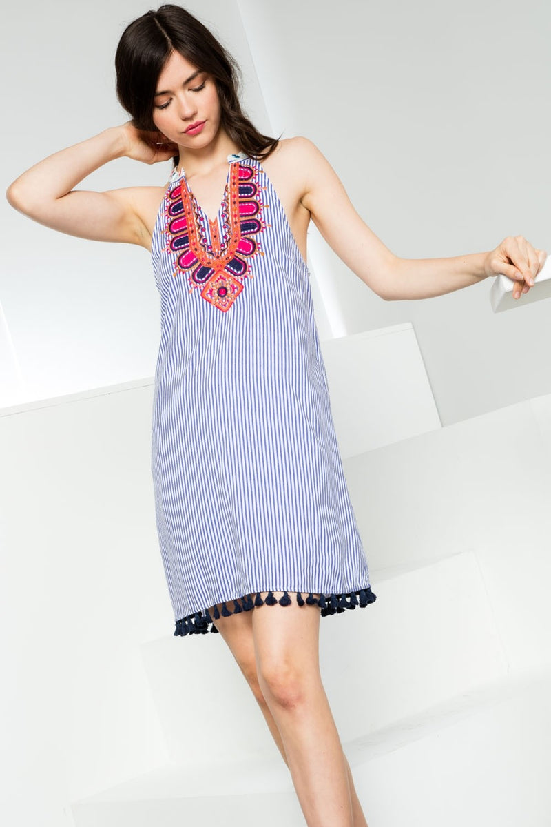 Embroidered Stripe Halter Dress with Tassel Hem