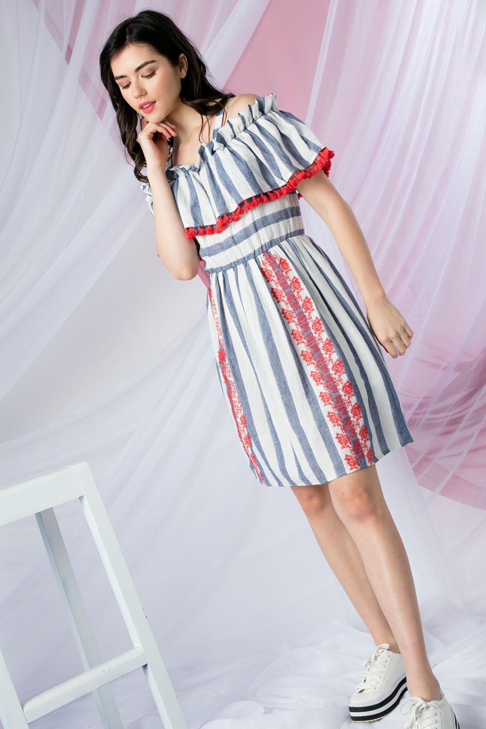 LAST CALL SIZE M | Striped Off Shoulder Fit and Flare Dress with Embroidery