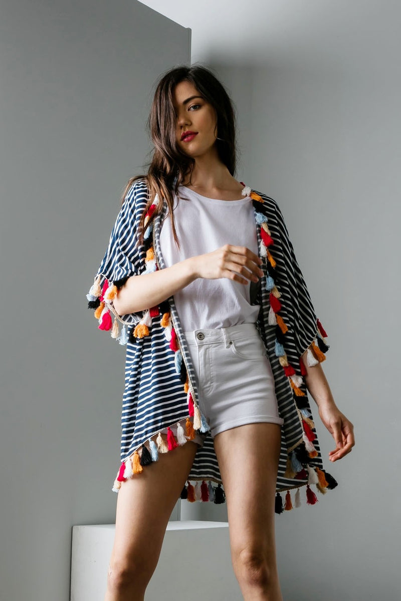 LAST CALL SIZE XS/S | Navy and White Striped Kimono with Multicolor Tassels