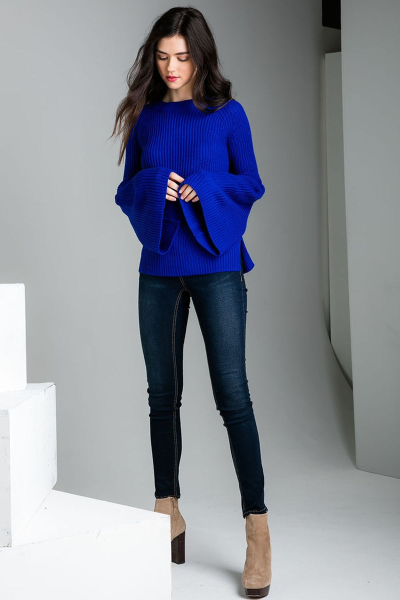 LAST CALL SIZE XS | Bell Sleeve Sweater with Side Slits