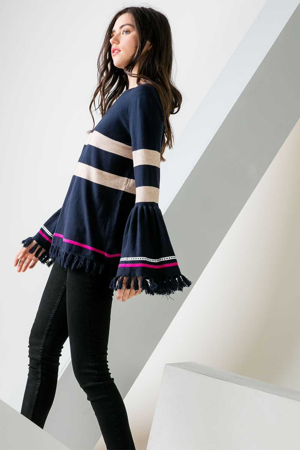 Striped Sweater with Tasseled Bell Sleeves