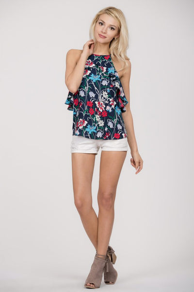 Ruffle Floral Halter Top