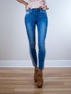 LAST CALL SIZE 24 | Mid-Rise Colorblock Super Stretch Skinny Jeans
