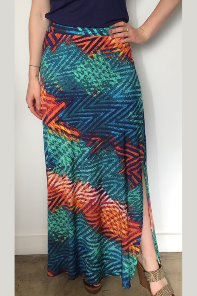 High Waisted Multicolor Tribal Print Maxi Skirt