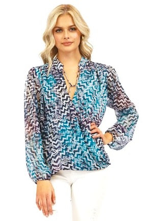 LAST CALL SIZE XS | Long Sleeve Wrap Style Blouse with Necktie