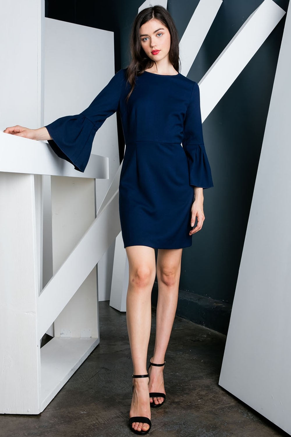 Bell Sleeve A-Line Dress in Navy