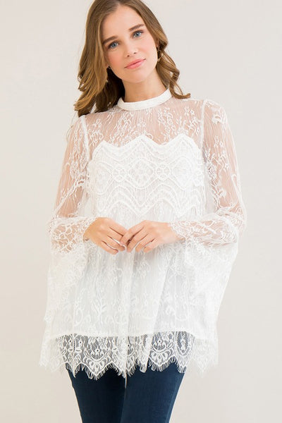 Hi-Neck Lace Top with Bell Sleeves in Off-White
