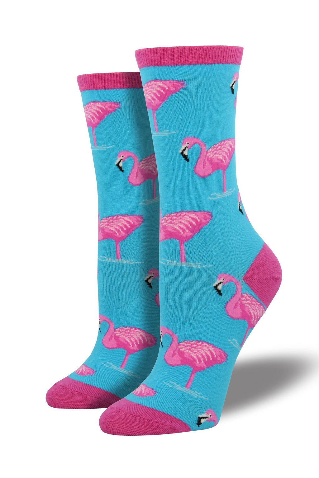 Flamingo Socks in Sky Blue