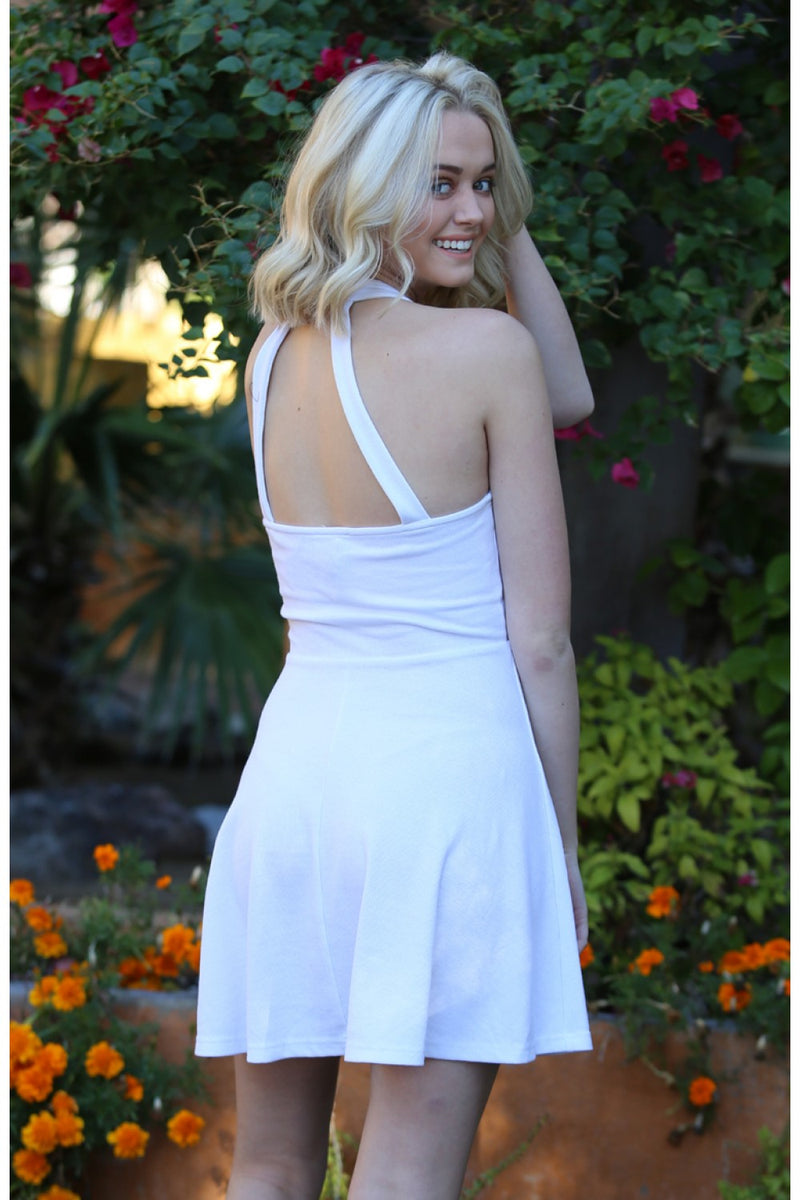 Ribbed Knit Halter Dress in White