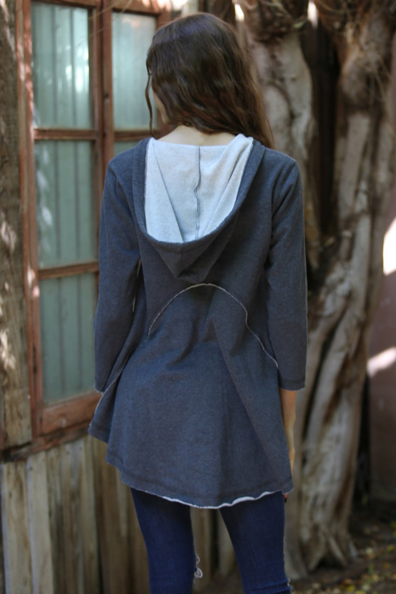 LAST CALL SIZE L | Exposed Seam Hoodie Tunic in Grey