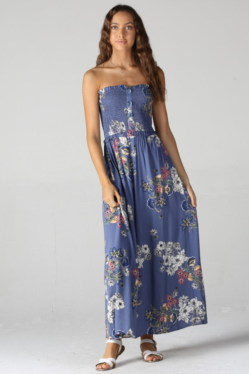 Floral Strapless Maxi Dress in Blue