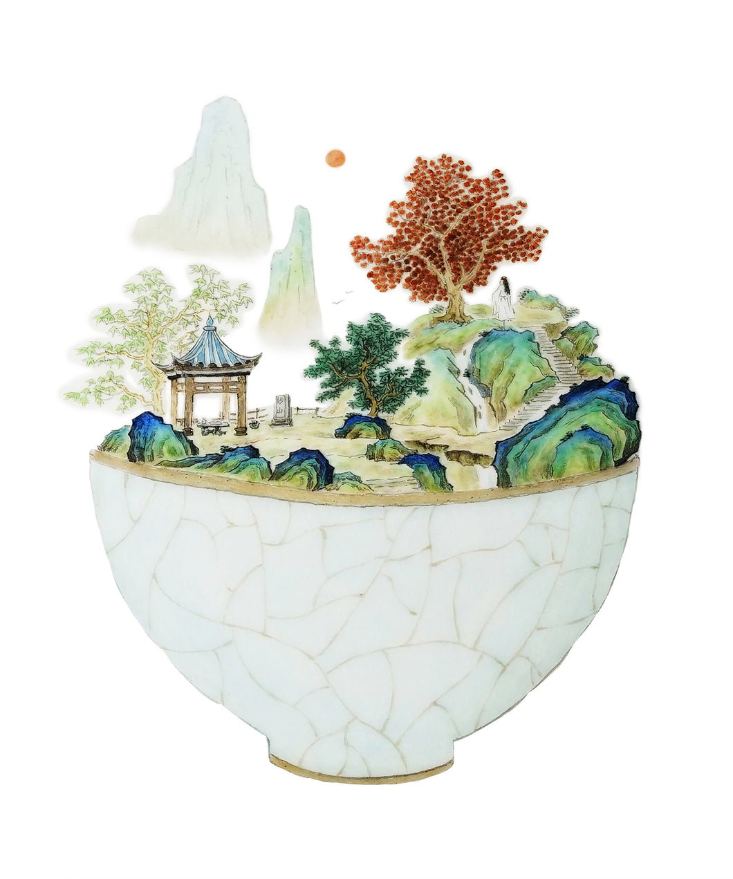 A watercolor of a teacup, with landscape scenery booming from its rim. This image represents Steeped Content's expertise, tea.