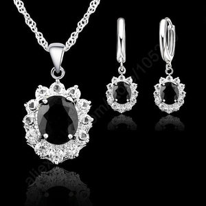 Silver Black CZ Necklace/Pendants/ Earring Sets
