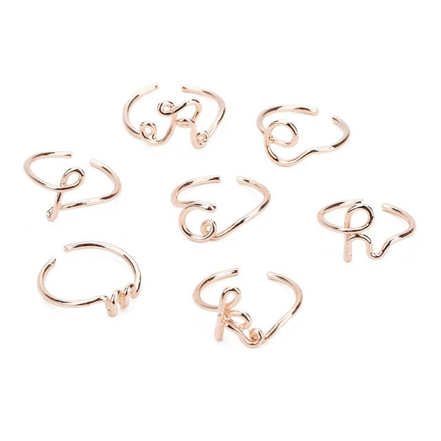 Unisex Gold Silver Color A-Z 26 Letters Initial Name Rings