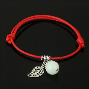 Simple Luminous Bead Leaf Pendant Bracelet