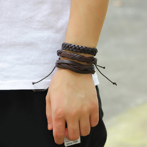6pcs/lot Handmade Braided Men Multilayer Casual Bracelets