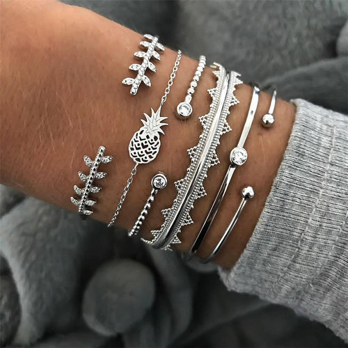 6Pcs/Set Punk Bracelets
