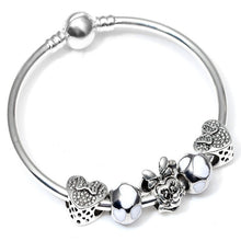 Load image into Gallery viewer, Silver color Cartoon Mickey Minnie Love Beads Brand Bracelet