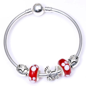 Silver color Cartoon Mickey Minnie Love Beads Brand Bracelet