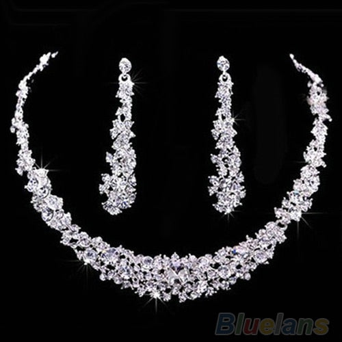 Crystal Rhinestone Diamante Necklace & Earring Set