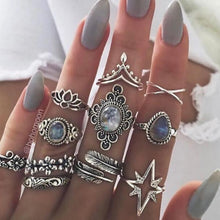 Load image into Gallery viewer, 9 Design Boho Vintage Gold Star Midi Moon Rings