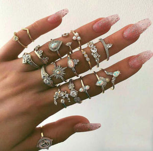 9 Design Boho Vintage Gold Star Midi Moon Rings