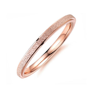 Frosted Stainless Steel Ring Silver/Rose
