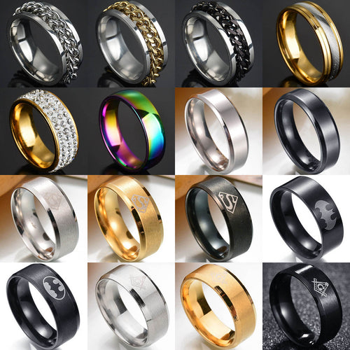 Punk Titanium Steel Roman Numeral Twist Chain Rings