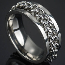 Load image into Gallery viewer, Punk Titanium Steel Roman Numeral Twist Chain Rings