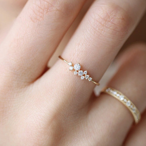 Crystal  Simple 3 Rhinestone Ring