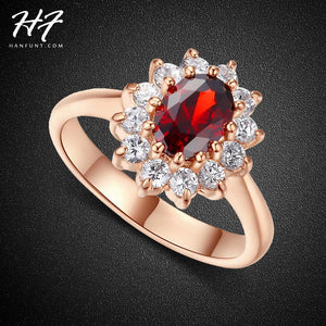 Classic Red Crystal Wedding Rings