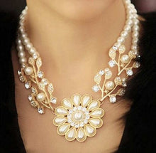 Load image into Gallery viewer, Pearl Pendant Gold Choker Necklace