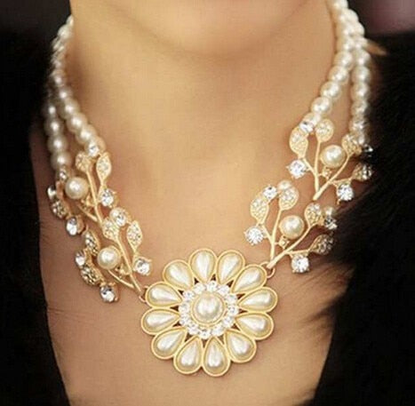 Pearl Pendant Gold Choker Necklace