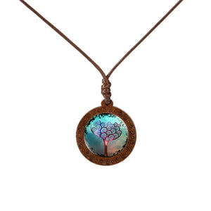 Family Tree of Life Dome Glass Wood Pendant Necklaces