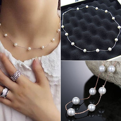 Faux Pearl Choker Short Necklace