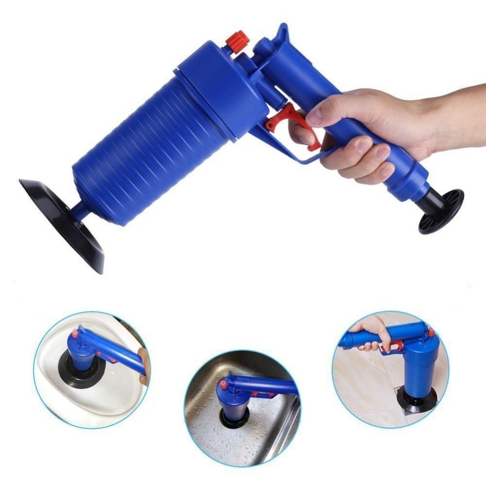 Air Power Drain Blaster gun High Pressure Powerful Manual sink Plunger Opener cleaner pump for Bath Toilets Bathroom Show