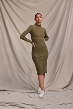 Load image into Gallery viewer, Skivvy Rib Dress Olive Green