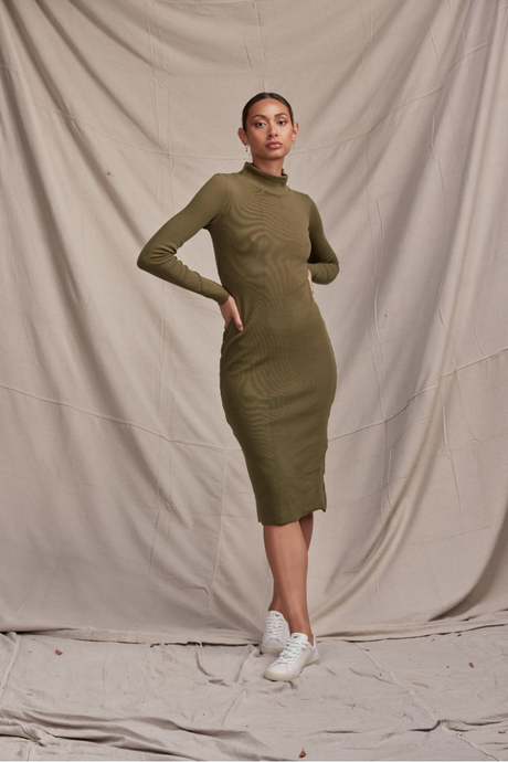 Skivvy Rib Dress Olive Green