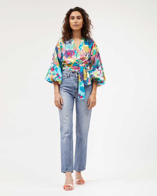 Isabel Wrap Top Miami Print