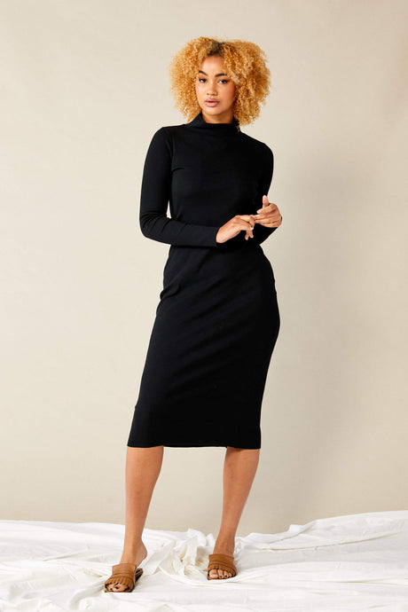 Skivvy Rib Dress  Black