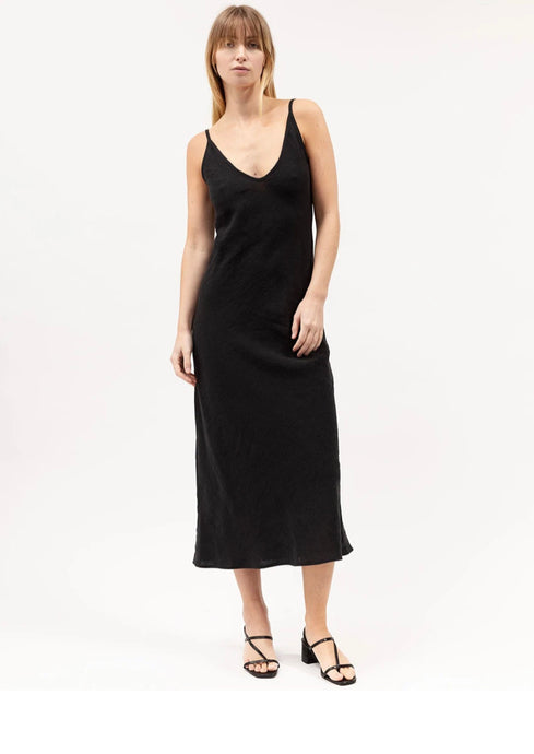 Black Midi Bias Dress