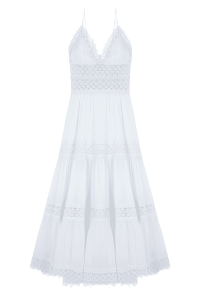 Cindy Long White Cotton Dress
