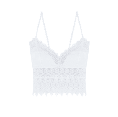 Dana White Cotton & Lace Cropped Top