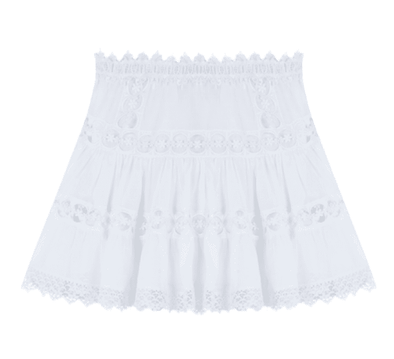 Greta White Cotton & Lace Mini Skirt