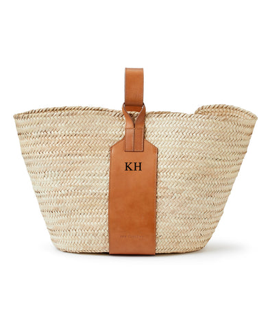 Grace Tan Leather Monogram Basket